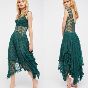 Free People French Courtship Slip Dress Emerald